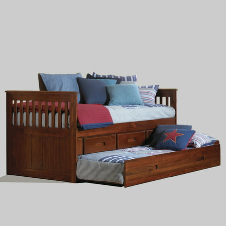 American Furniture Classics Model 2835-TRM, Solid Pine Twin Rake Bed with Trundle and Three Underbed Drawers in Merlot