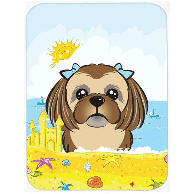 Chocolate Brown Shih Tzu Summer Beach Mouse Pad, Hot Pad or Trivet