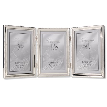 Polished Silver Plate 4x6 Hinged Triple Picture Frame - Bead Border Design