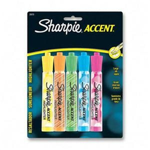 25573PP Sharpie Accent Highlighter - Chisel Marker Point Style - Fluorescent Green, Fluorescent Orange, Fluorescent Pink, Fluorescent Yellow, Blue Ink - Translucent Barrel - 5 / Pack