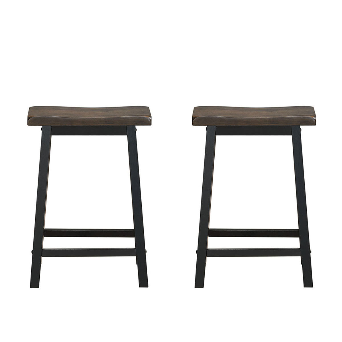 Gymax Set of 2 Bar Stools 24''H Saddle Seat Pub Chair Home Kitchen Dining Room Gray - image 3 de 6