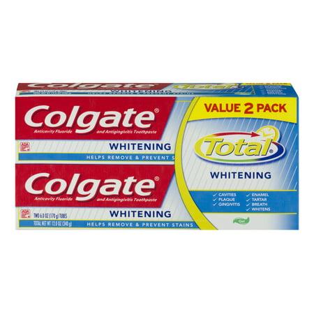 total anticavité -amp- Fluoride Toothpaste Gel contre la gingivite Blanchiment 6 oz