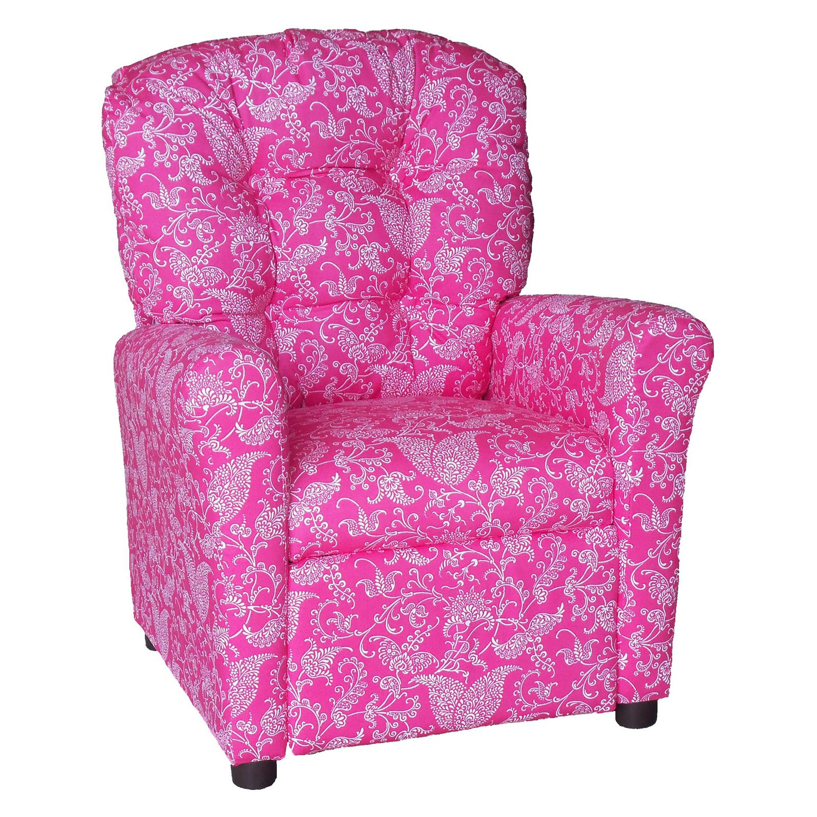 Brazil Furniture 4-Button Back Childrens Recliner - Small Paisley Pink