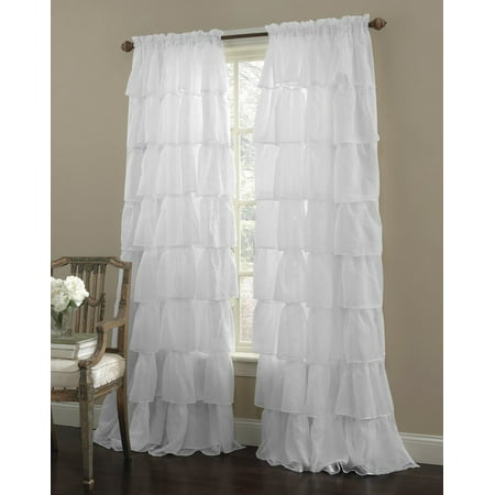 Decotex 1 Piece Gypsy Ruffled Shabby Chic Crushed Sheer Voile Window Curtain Treatment Panel Drape (55