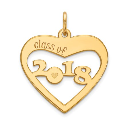 14k Yellow Gold Class Of 2018 Heart Cut Out Necklace Pendant Charm Graduation Gifts For Women For Her](Class Necklaces)