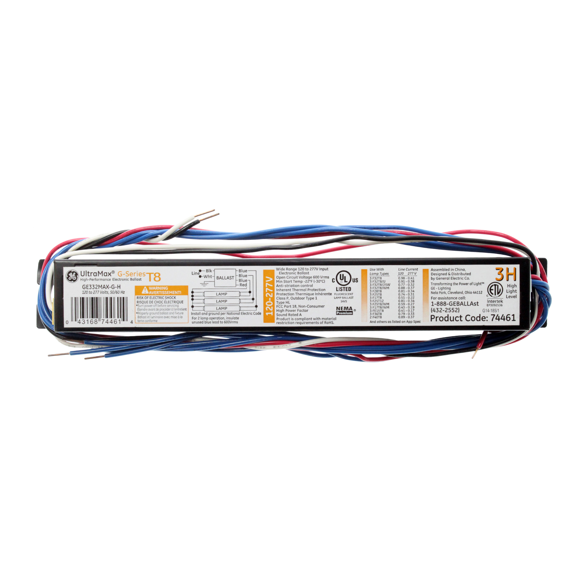 GE GE332-MAX-G-H 74461 HP Electronic Ballast, 3-Lamp, F32T8, 32W T8, 120/277V