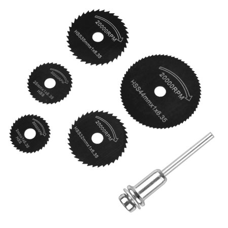 EEEKit Circular Saw Disc Set 6Pcs Mini Drill Rotary Tool Wood Wheel Cutting Metal Plastic Fiberglass Copper High Speed Steel Blade, (Ductile High Speed Saws)
