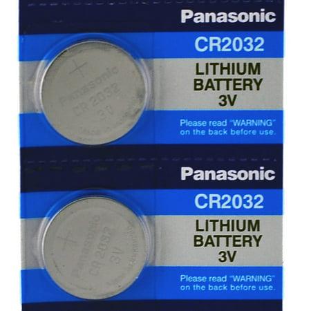 2 Panasonic CR2032 2032 3V Lithium Coin Cell Batteries (2 Batteries)