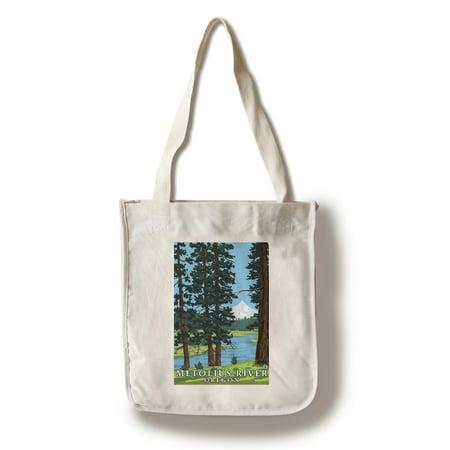 Metolius River, Oregon & Mt. Hood - Lantern Press Artwork (100% Cotton Tote Bag - Reusable)