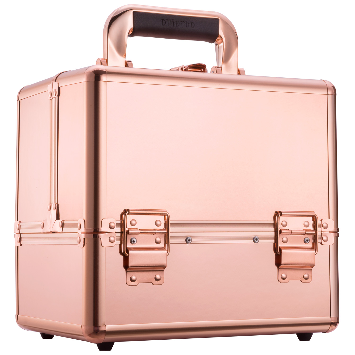 Mllieroo Professional Portable Makeup Train Case Aluminum frame with Locks and Folding Trays,Rose Gold