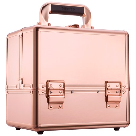 Mllieroo Professional Portable Makeup Train Case Aluminum frame with Locks and Folding Trays,Rose Gold ()