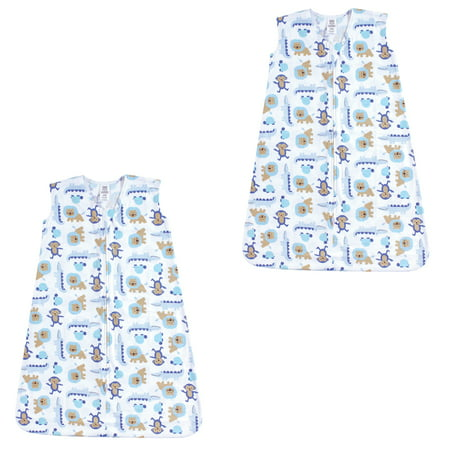 Baby Sleeping Bag Jungle (Luvable friends Baby Boy and Girl Jersey Cotton Sleeping Bag 2 Pack, Boy Jungle, 6-12)