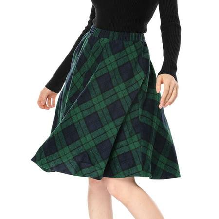 Women's Elastic Waist Knee Length Plaids Worsted A Line Skirt Green M (US 10)