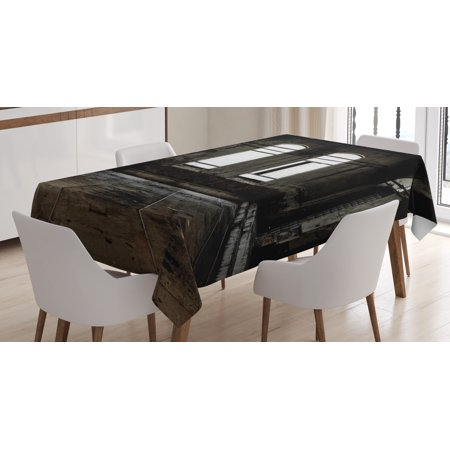 Industrial Decor Tablecloth, Vintage Grunge Floor Walls and Windows Messy Aged Wrecked Workshop, Rectangular Table Cover for Dining Room Kitchen, 60 X 84 Inches, White Dark Brown, by - Rectangular Window Wall