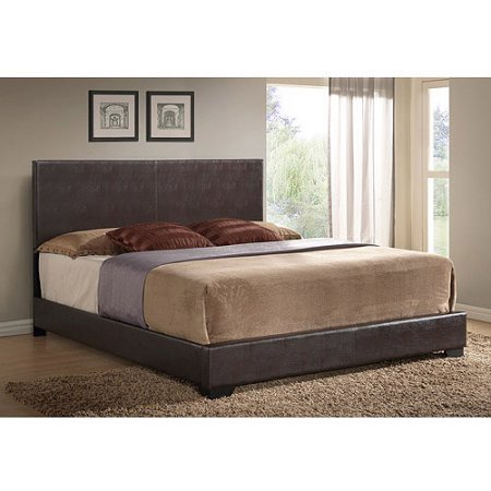 Ireland King Faux Leather Bed, Brown Contemporary Leather Eastern King Bed