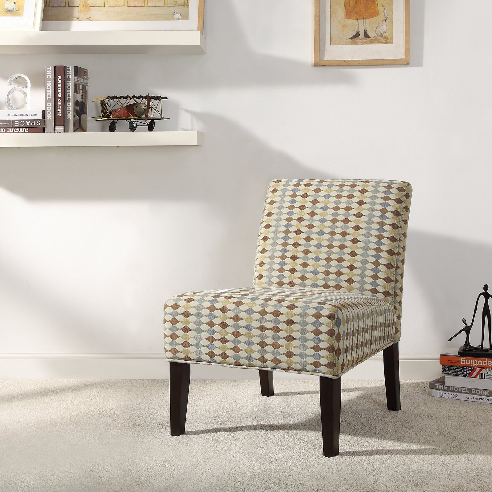 Weston Home Criss Cross Print Fabric Lounger Chair - Rich Espresso