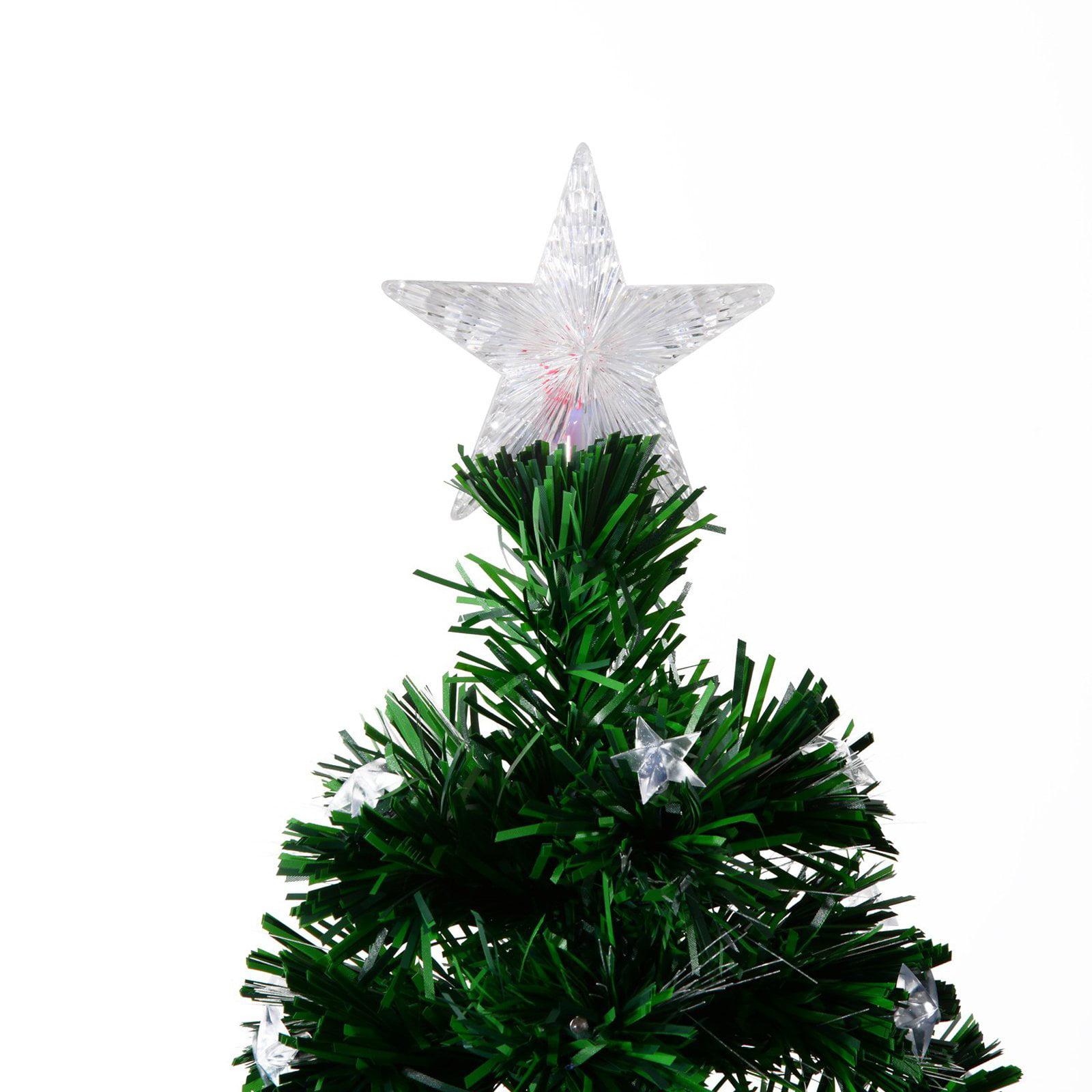HomCom 7.5 ft. Pre-Lit LED Stars Artificial Christmas Tree with ...