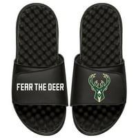 Men's ISlide Black Milwaukee Bucks Team Slogan Slide Sandals