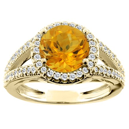 10K Yellow Gold Natural Citrine Ring Round 8mm Diamond Accent, size 8.5