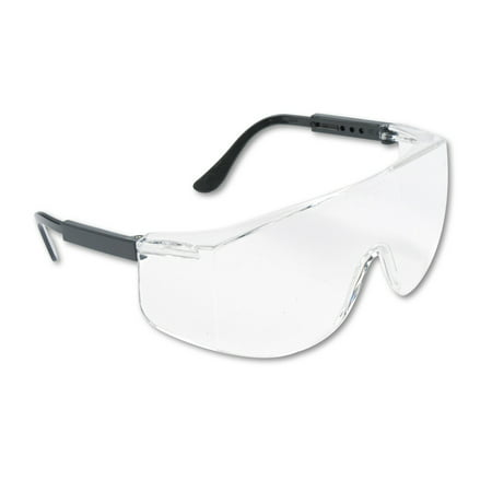 MCR Safety Tacoma Wraparound Safety Glasses, Black Plastic Frame, Clear Lens