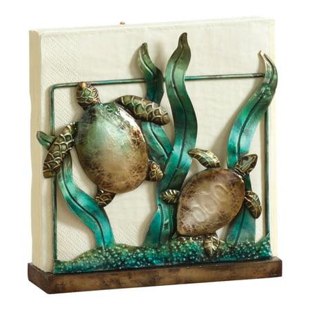 Sea turtles in coral napkin holder metal coastal table - Coastal napkin holder ...