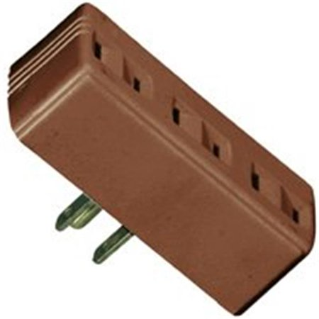 Cooper Wiring 1747B-BOX 3 Outlet 2 Wire Tap-Adapter - Brown