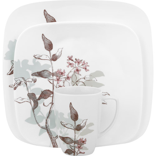 Corelle Squares Twilight Grove 16-Piece Dinnerware Set
