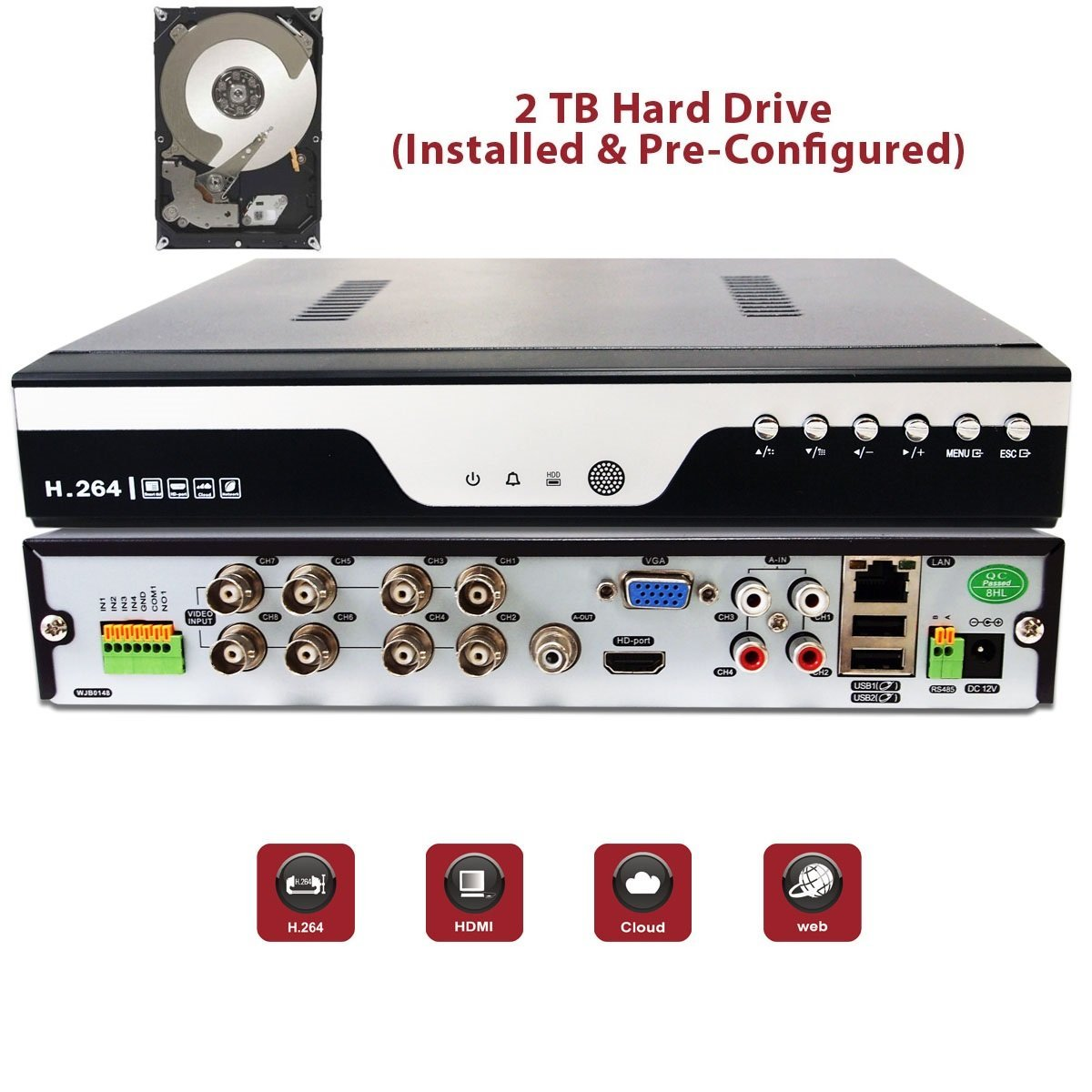 Evertech 8 Channel 1080P Analog High Definition Real Time Recoding Cloud Option DVR with 2TB HDD Installed and Pre-Configured for Security Surveillance