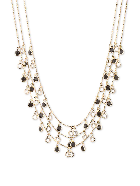 Shaky Jet Circle Drop Three-Strand Necklace