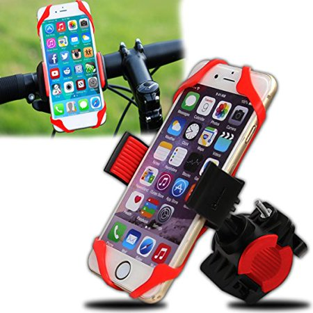Zento Deals Premium Quality Cell Phone Bicycle, Motorcycle Holder- Universal Sporty Cellphone Holder -Safety Lock Bicycle Handlebar Clip Holder