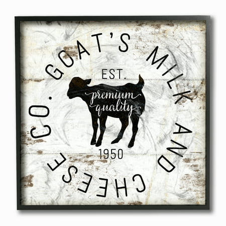 The Stupell Home Decor Collection Goat Milk and Cheese Co Vintage Sign Framed Giclee Texturized Art, 12 x 1.5 x 12 (Milk Decor)