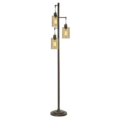 Abode 84 72-Inch Floor Lamp with 3 Glass Shades, Bronze Champagne Glass Rustic Floor Lamp