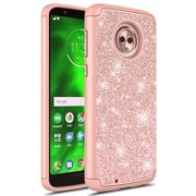 Moto G6 Case, Kaesar Fashion Cute Sparkly Bling Dual Layer Shockproof Hybird Luxury Shinning Protective Case Cover for Motorola Moto G 6th Generation (Rose Gold)