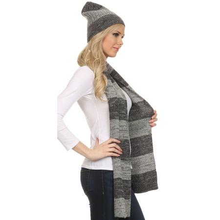 15ce7bafb6c Sakkas Robin Unisex Ribbed Knit Heather Beanie Hat And Scarf Set - Charcoal  - OS - Walmart.com
