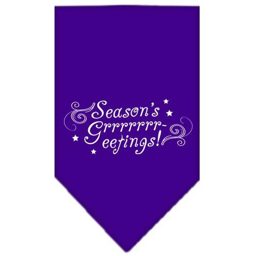 Seasons Greetings Screen Print Bandana Purple Small