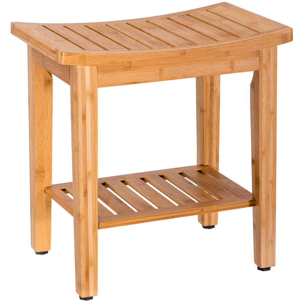 Costway 18'' Bamboo Shower Seat Bench Bathroom Spa Bath Organizer Stool w/ Storage Shelf