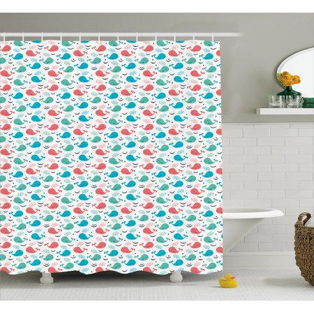 The Giant Cartoon (Whale Shower Curtain, Colorful Cartoon Whales with Smiling Faces Giant Mammals of the Ocean, Fabric Bathroom Set with Hooks, 69W X 70L Inches, Dark Coral Sea Green Blue, by)