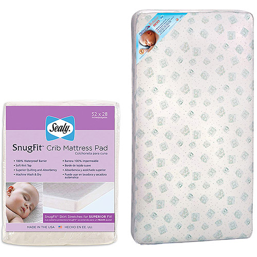 Kolcraft Crib/Toddler Mattress with Sealy Crib Mattress Pad