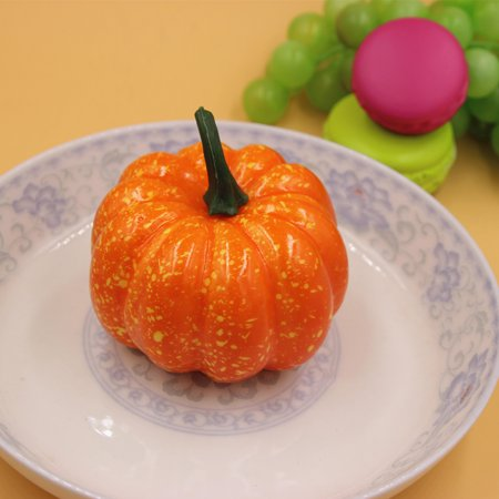 Mini Cute Simulation Pumpkin Artificial Fruit Vegetable Toy Great Decoration Around Halloween Christmas Time for Your House Garden Backyard Color:Orange - Disneyland Halloween Time