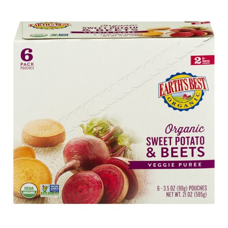 Earths Best Organic Sweet Potato   Beets Baby Food Puree 2 Over 6 Months  3 5 Oz  6 Count