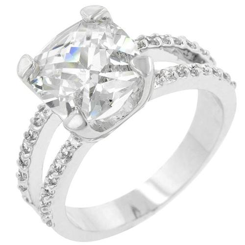 Kate Bissett R07436R-C01-09 Genuine Rhodium Plated Cocktail Ring with a 5ct Prong Set Asscher Cut Clear CZ Above a
