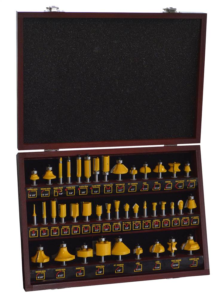 Pro-Series 40-Piece Router Bit Set in Wood Box by Buffalo Corp