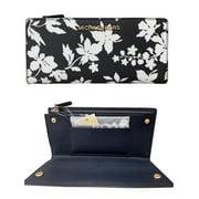 Michael Kors Jet Set Large Card Case Carryall Wallet Navy Floral