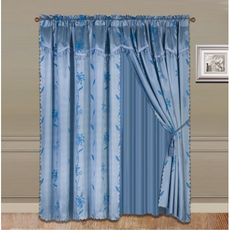 NADA SLATE BLUE COMPLETE WINDOW CURTAIN SET 2 panels faux silk  LEAF FLORAL 2 PANEL solid SHEER 2 attached VALANCE 2 TASSEL THICK HEAVY WINDOW CURTAIN drape 63