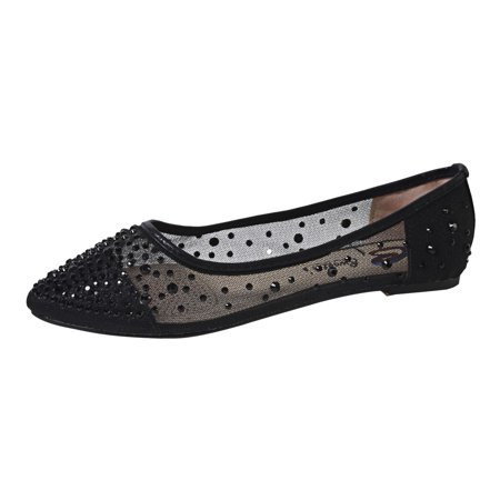 Sweetie's Shoes Black Beaded Rihanna Flats 5.5-11 Womens ()