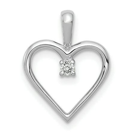 14K White Gold Plated AA Diamond Heart