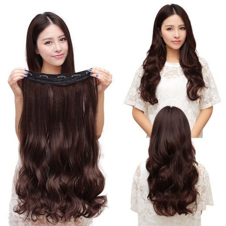Fashion 3/4 Full head Clip In Hair Extensions Straight Curly With 5 Clips Long - image 4 de 6