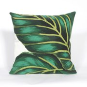 """Visions III Banana Leaf Emerald Pillow-Color:Green,Size:20""""Lx20""""Wx""""H"""