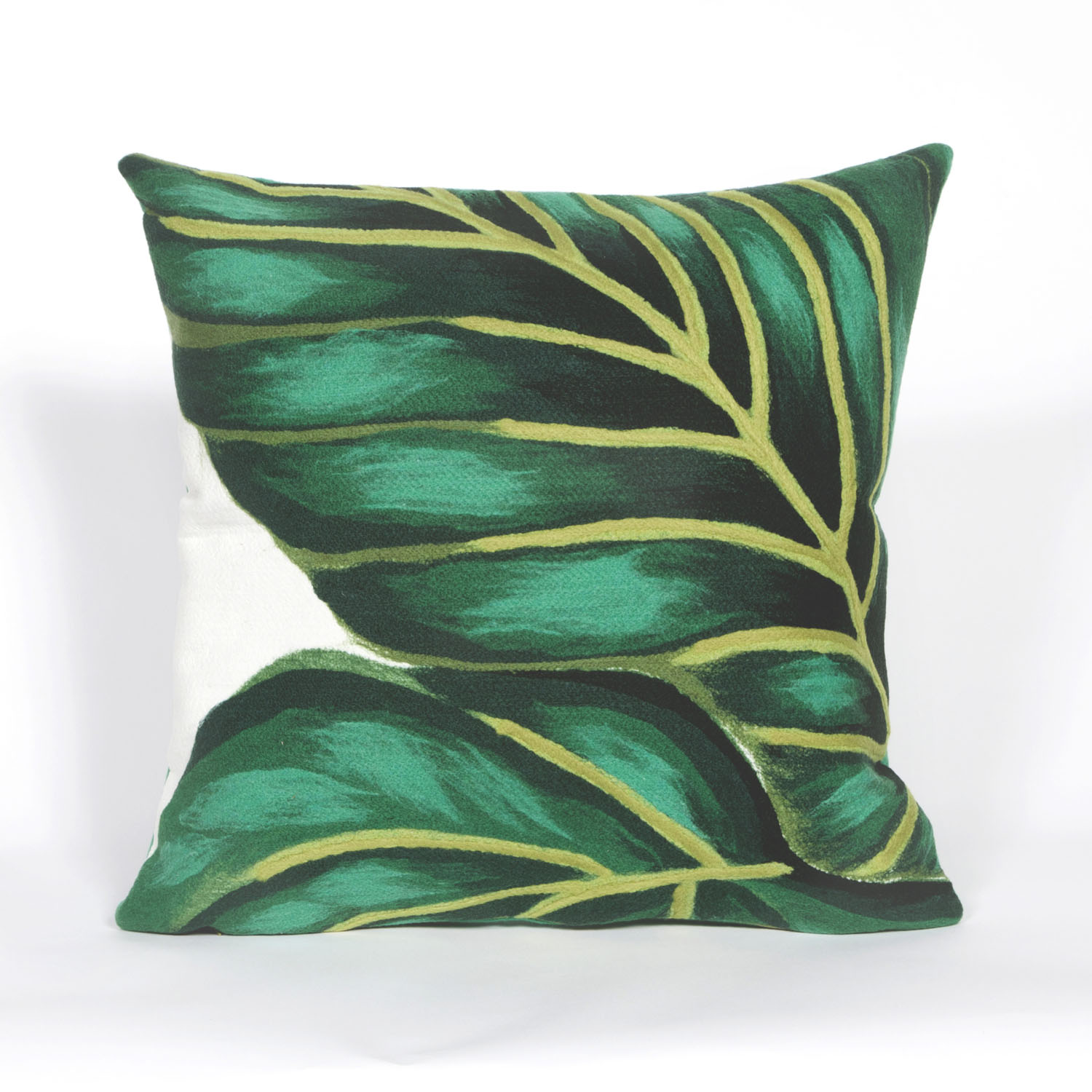 "Visions III Banana Leaf Emerald Pillow-Color:Green,Size:20""Lx20""Wx""H"