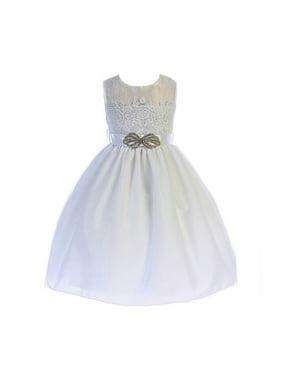 Crayon Kids Little Girls White Brooch Accent Lace Flower Girl Dress